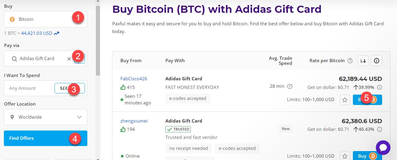 btc using adidas gift card