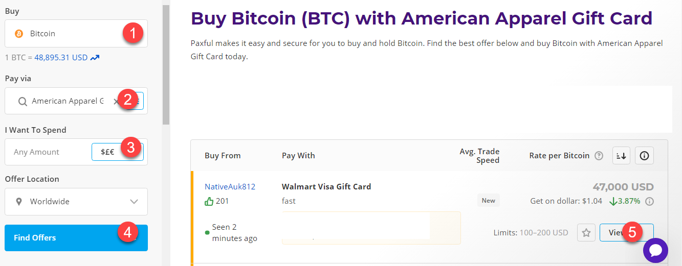 buy btc with american apparel gift card