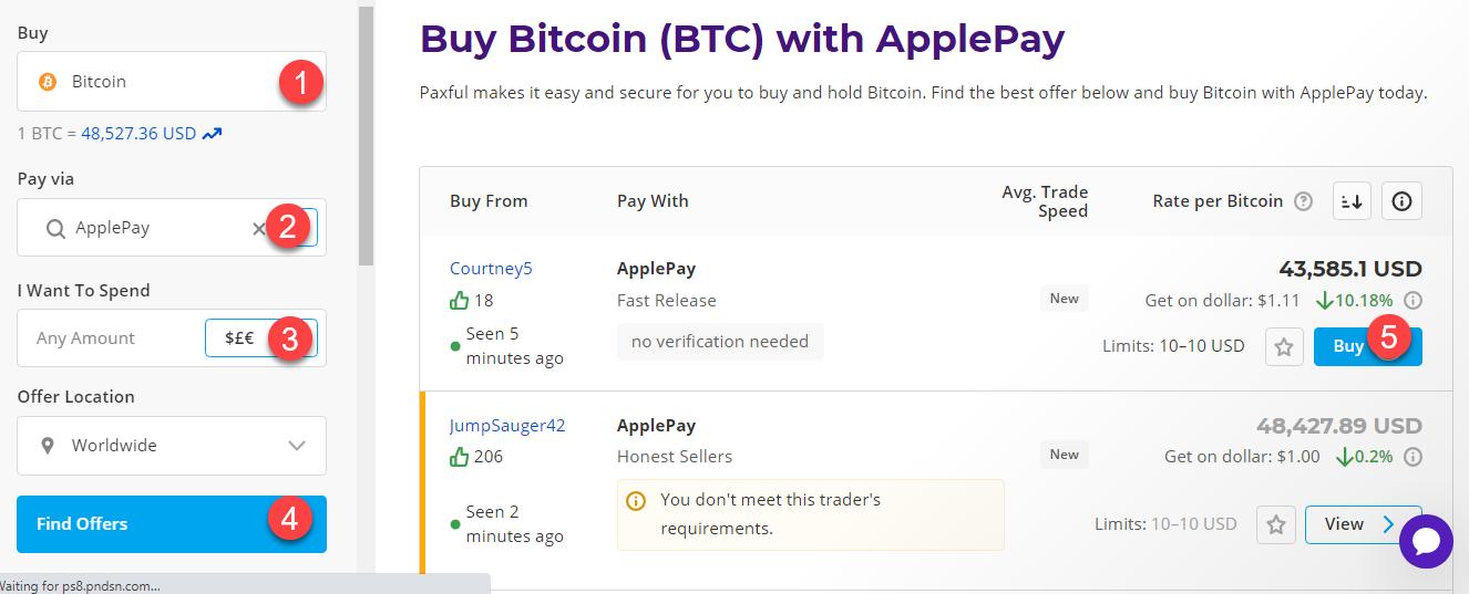 buy btc with applepay