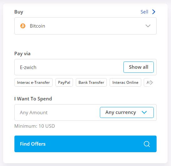 buy btc using e-zwich