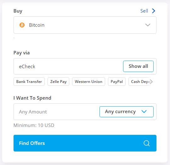 buy btc using echeck