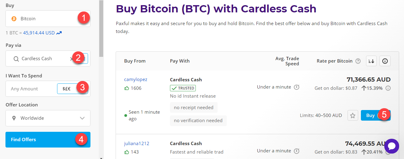 buy btc with cardless cash