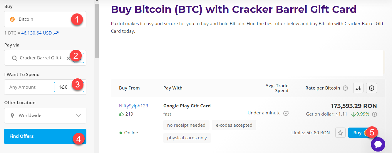 buy btc with cracker barrel gift card