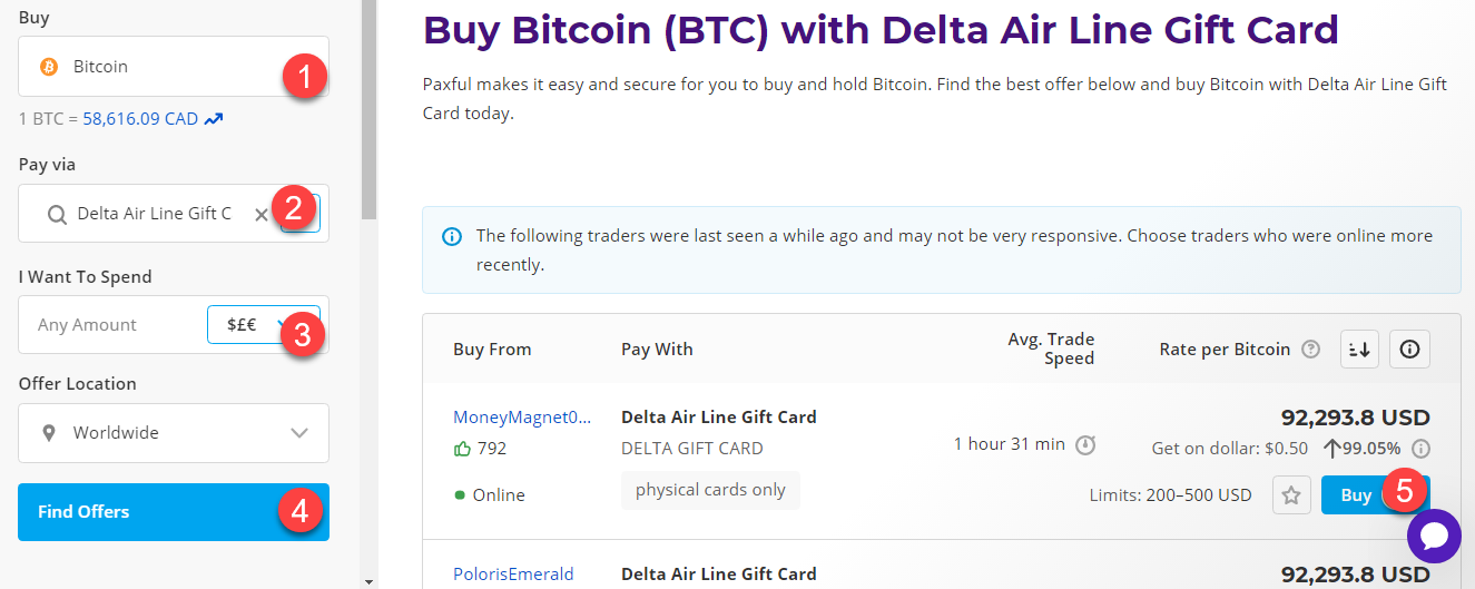 buy btc with delta airline gift card
