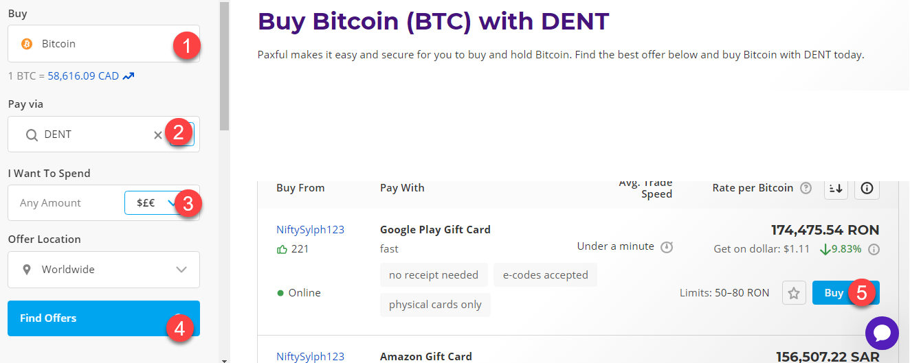 buy btc with dent