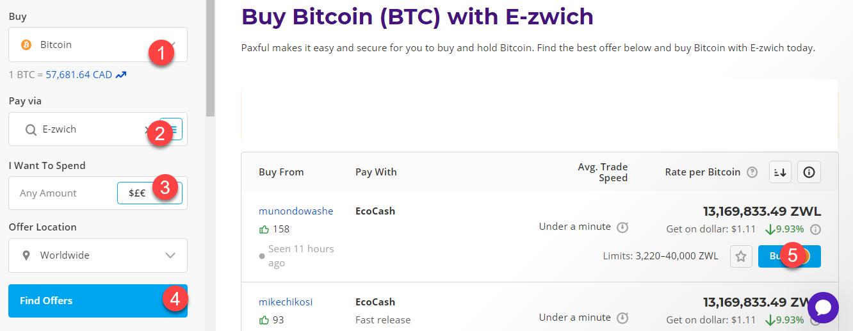 buy btc with e-zwich