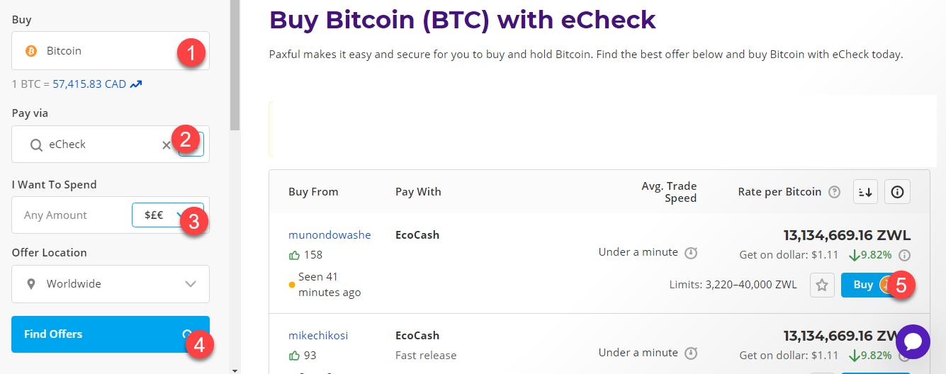 buy btc with echeck