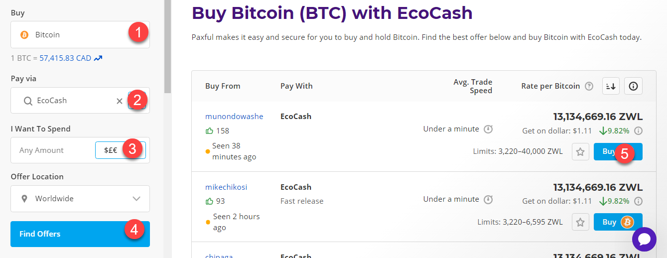 buy btc with ecocash