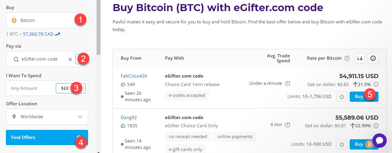 buy btc with egifter.com code