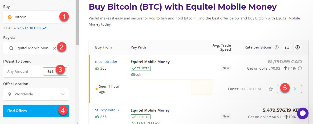 buy btc with equitel mobile money